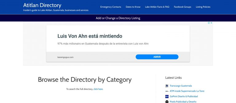 Screenshot of the Atitlan Directory site