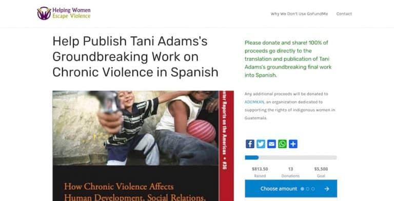 Screenshot of the Helping Women Escape Violence website