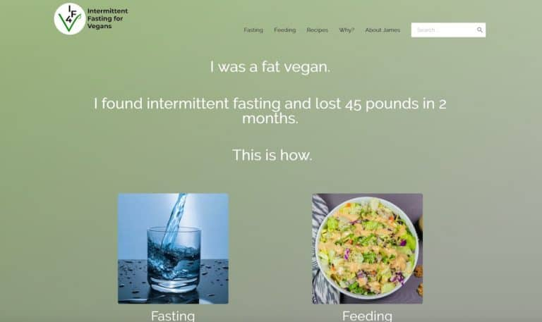 Screenshot of Intermittent Fasting for Vegans website