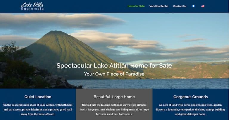 Screenshot of the Lake Villa Guatemala website