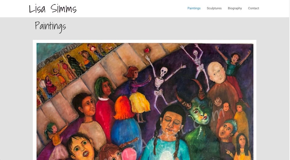Screenshot of Lisa Simms Artist website