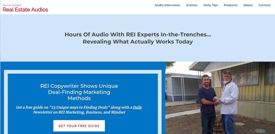 Screenshot of the Real Estate Audios website